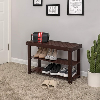 10. Songmics 3-Tier Bamboo Shoe Rack Bench