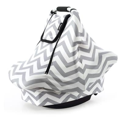 4. Stretchy Baby Car Seat Covers for Boys Girls (Grey White)
