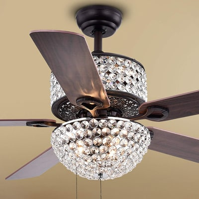 9. Warehouse of Tiffany CFL-8170BL Laure Crystal 6-Light 52-inch Ceiling Fan