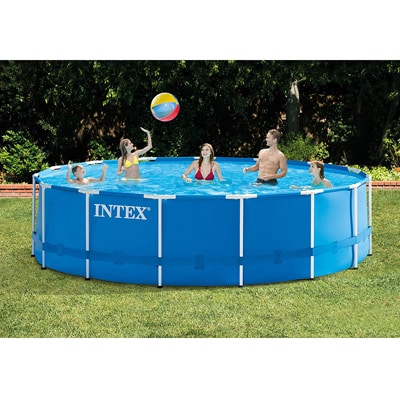 5. Intex 15ft X 48in Metal Frame Pool Set with Filter Pump, Ladder, Ground Cloth; Pool Cover