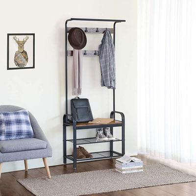 3. Vasagle Industrial Coat Rack Shoe Bench, Hall Tree Entryway Storage Shelf