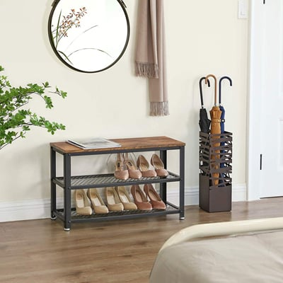 2. Vasagle Industrial Shoe Bench, 3-Tier Shoe Rack