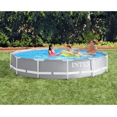 4. Intex 12 Foot x 30 Inches Durable Prism Steel Frame Above Ground Swimming Pool