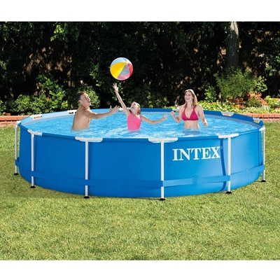 9. Intex 12 Foot x 30 Inches Metal Frame 1718 Gallon Capacity Above Ground Pool