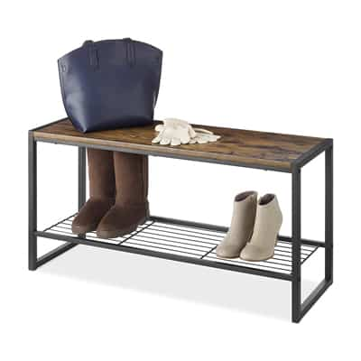 4. Whitmor Modern Industrial Entryway Bench w/Shoe Storage, Brown