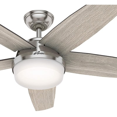 4. Hunter Fan 52 inch Contemporary Brushed Nickel Indoor Ceiling Fan with Light Kit and Remote Control (Renewed)
